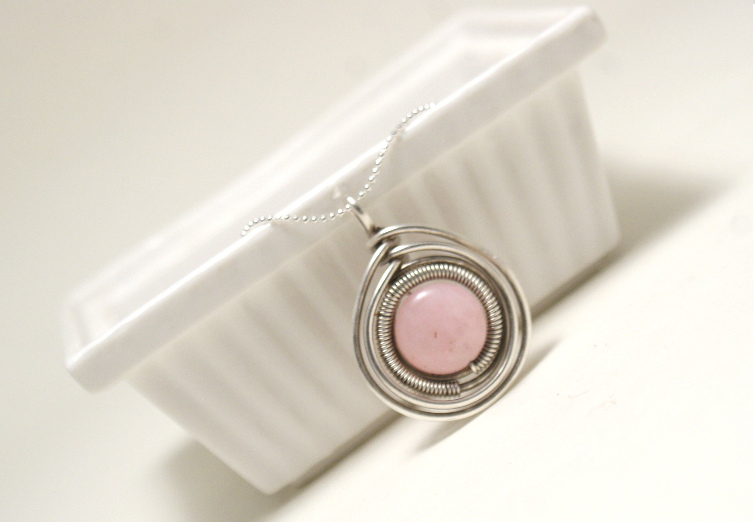 Handcrafted Rose Quartz Pendant Necklace, Artisan Jewelry Handmade - Babazen
