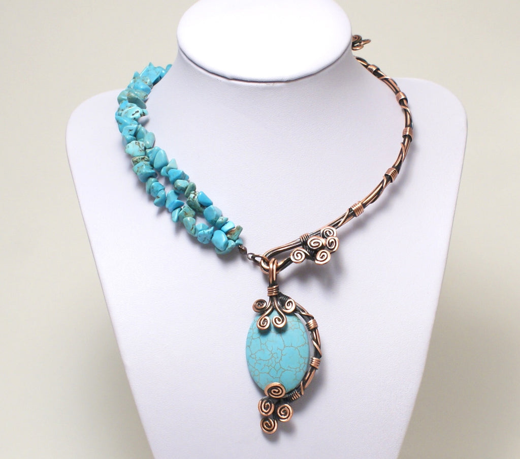 Handcrafted Turquoise Wire Wrapped Necklace, Artisan Handmade - Babazen
