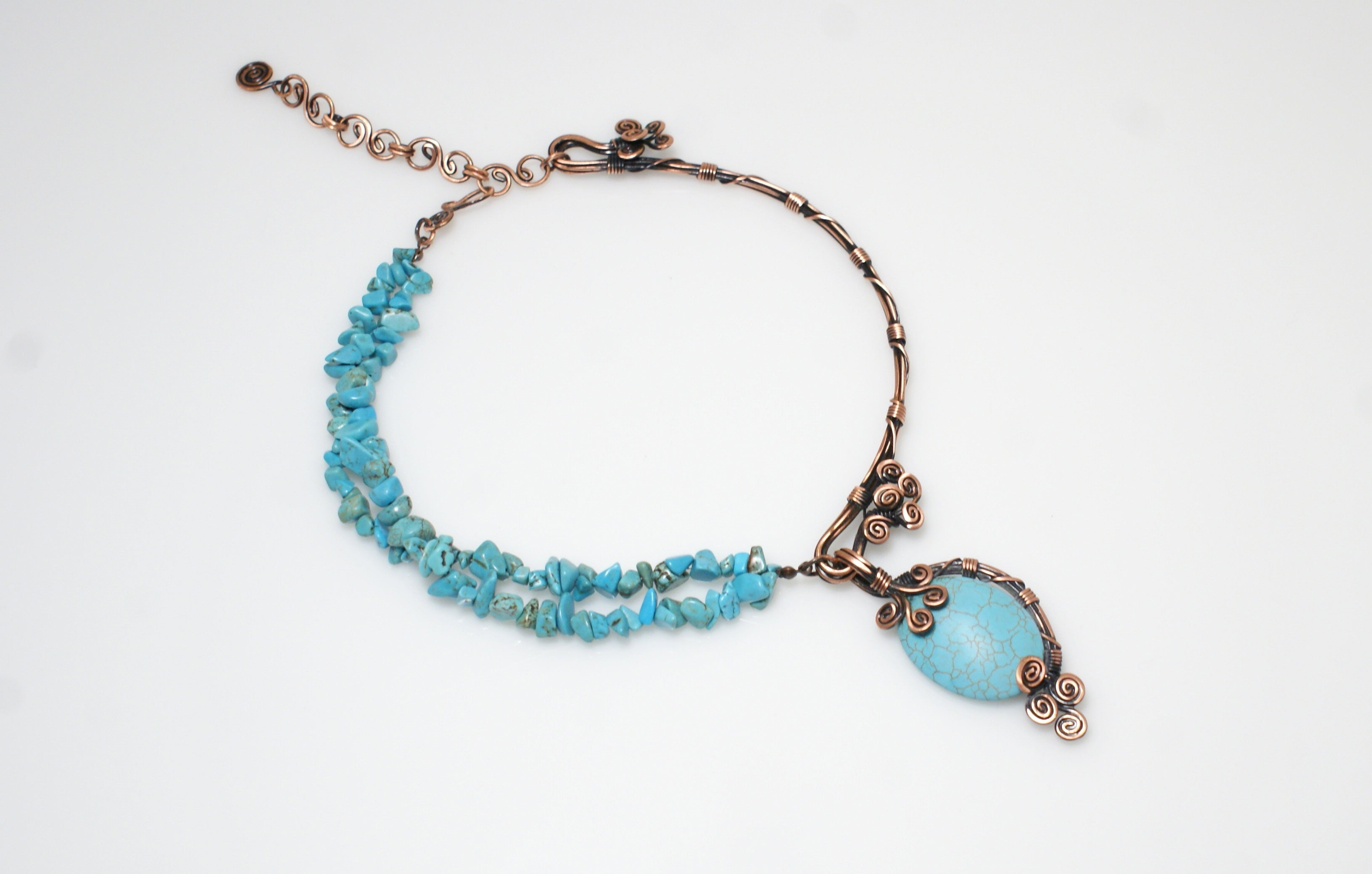 Handmade Turquoise Wire Wrapped Necklace - Babazen
