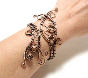 Handmade Copper Cuff Bracelet, Wire Wrapped - Babazen