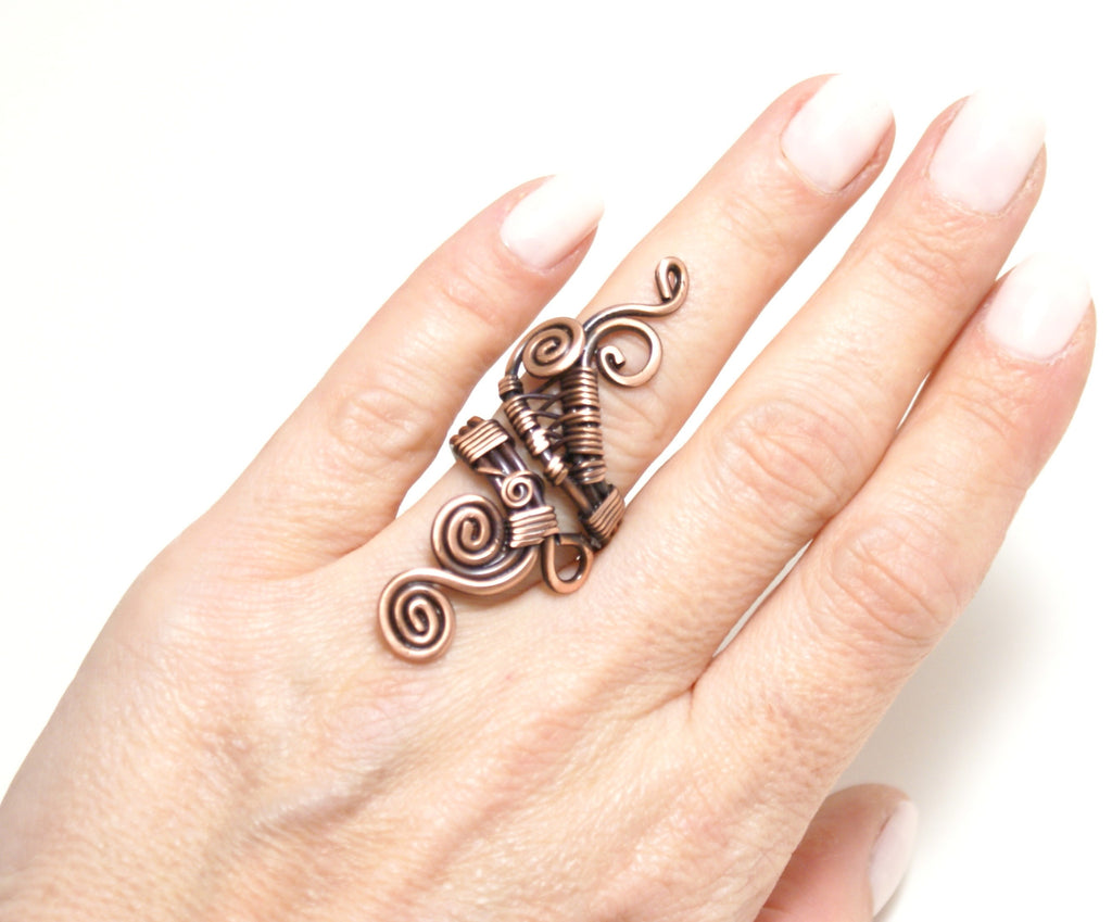 Handmade Copper Ring, Wire Wrapped - Babazen