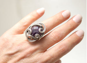 Handmade Amethyst Ring, Wire Wrapped - Babazen