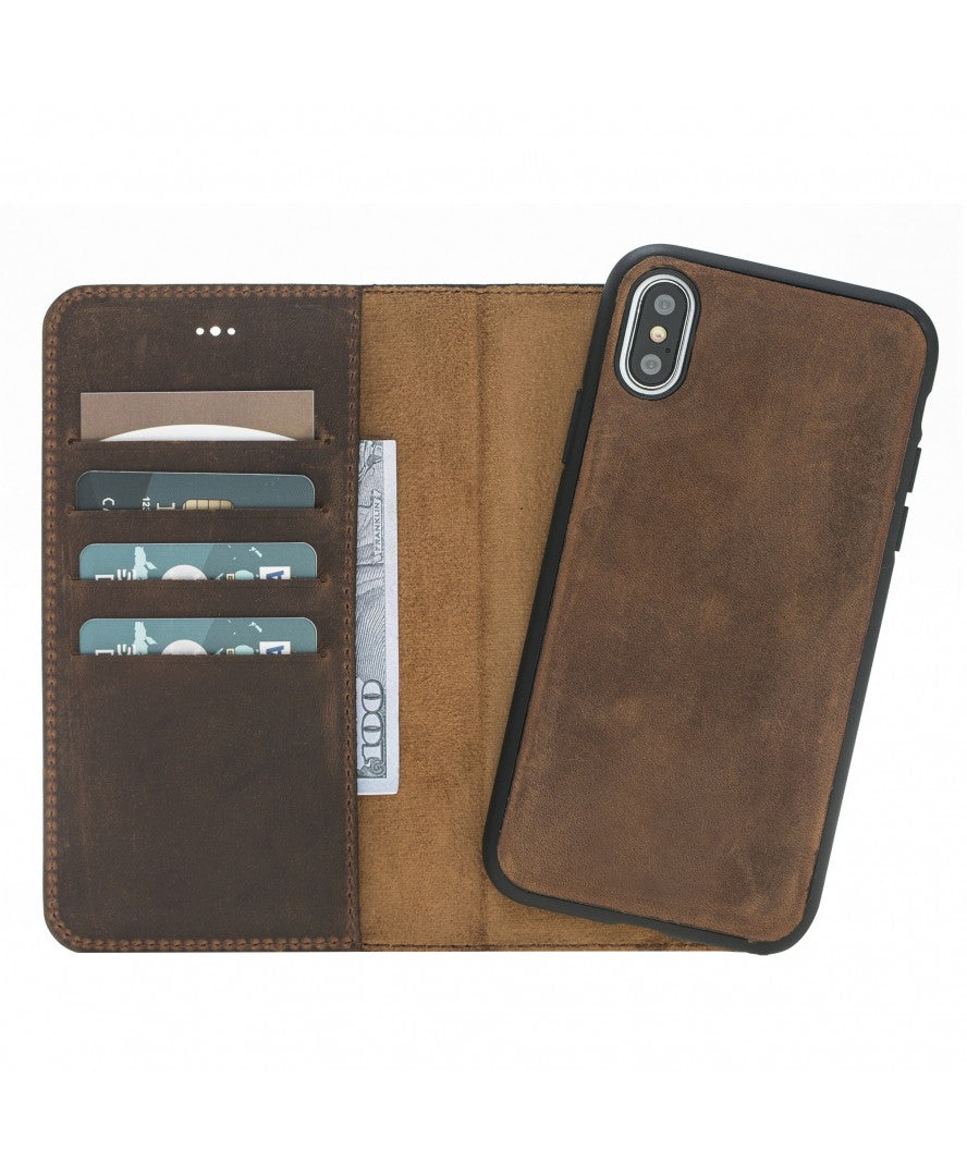 Leather Detachable Wallet Case for iPhone X / XS, Brown - Babazen
