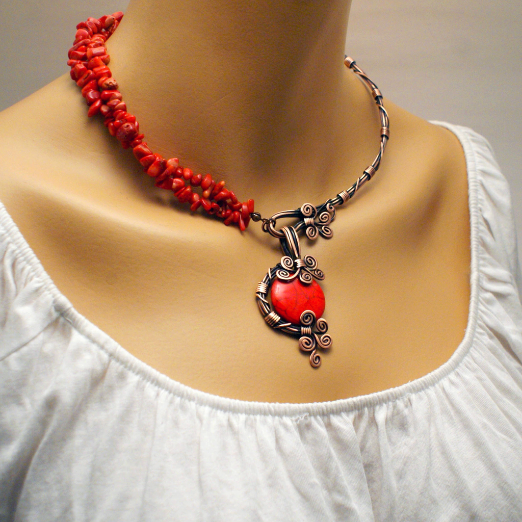 Handmade Wire Wrapped Red Necklace - Babazen