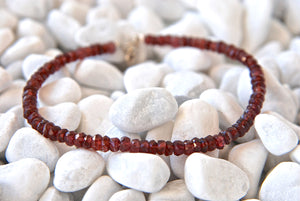 Handmade Diamond Cut Red Garnet Beads Stacking Bracelet - Babazen