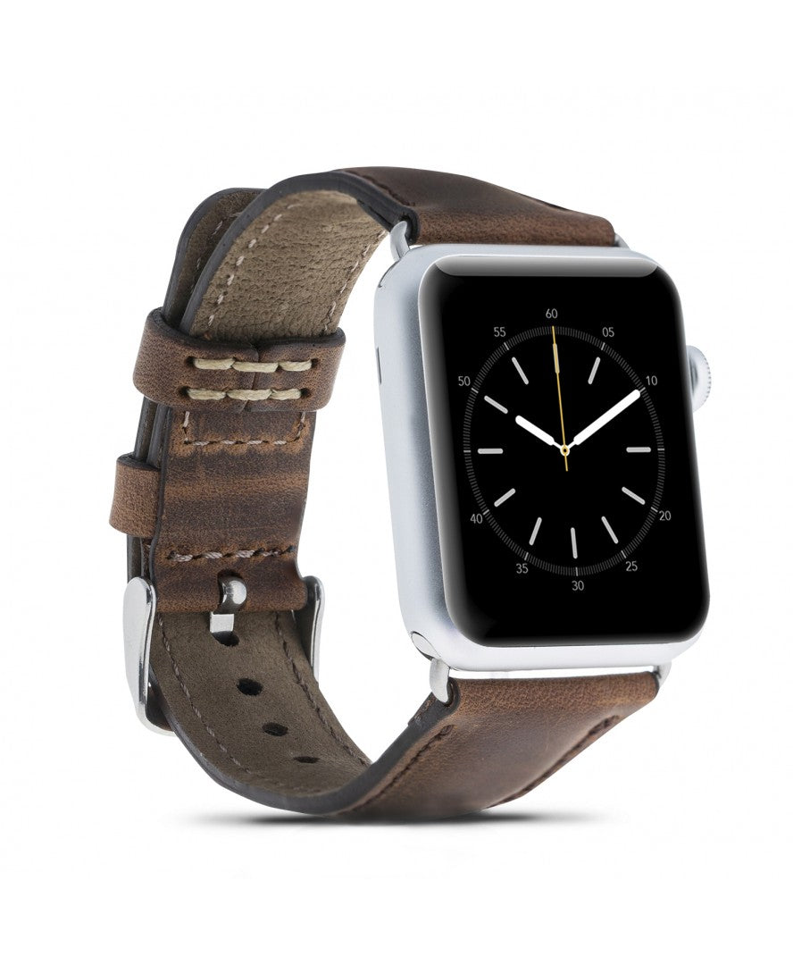 Handmade Genuine Leather Apple Watch Strap, Antic Brown - Babazen