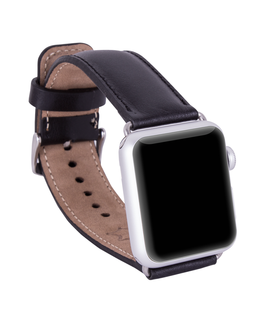 Handmade Genuine Leather Apple Watch Strap, Black - Babazen