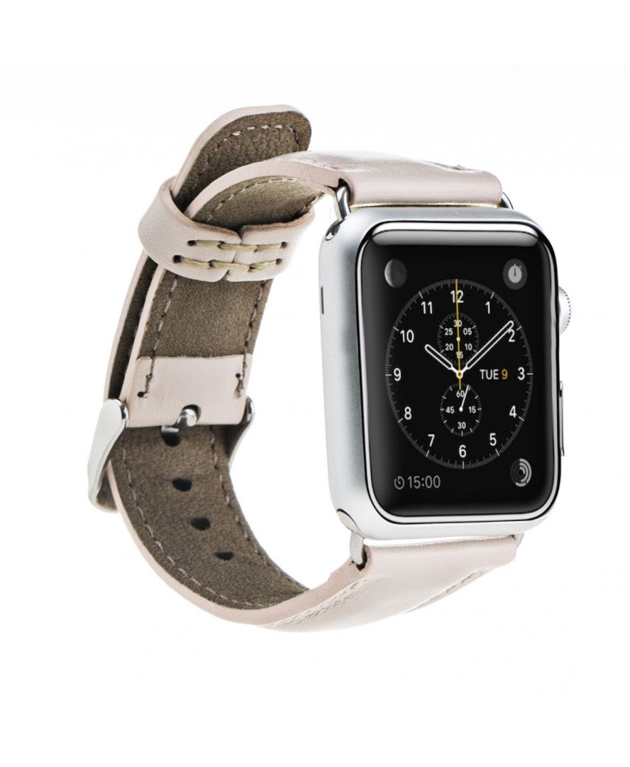 Handmade Genuine Leather Apple Watch Strap, Nude Pink - Babazen