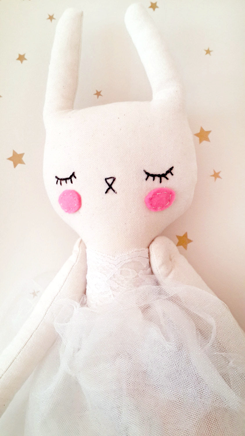 Handmade Plush Animal Doll nursery decor pillow, Bunny Princess - Babazen
