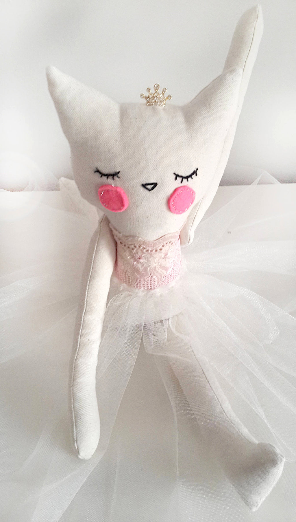Handmade Plush Animal Doll nursery decor, Princess Kitty Ballerina - Babazen