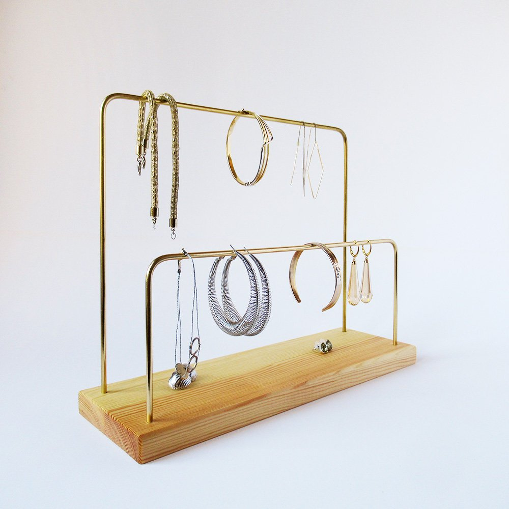 Handmade Wood and Brass Jewelry Stand, Natural, 2 bars - Babazen