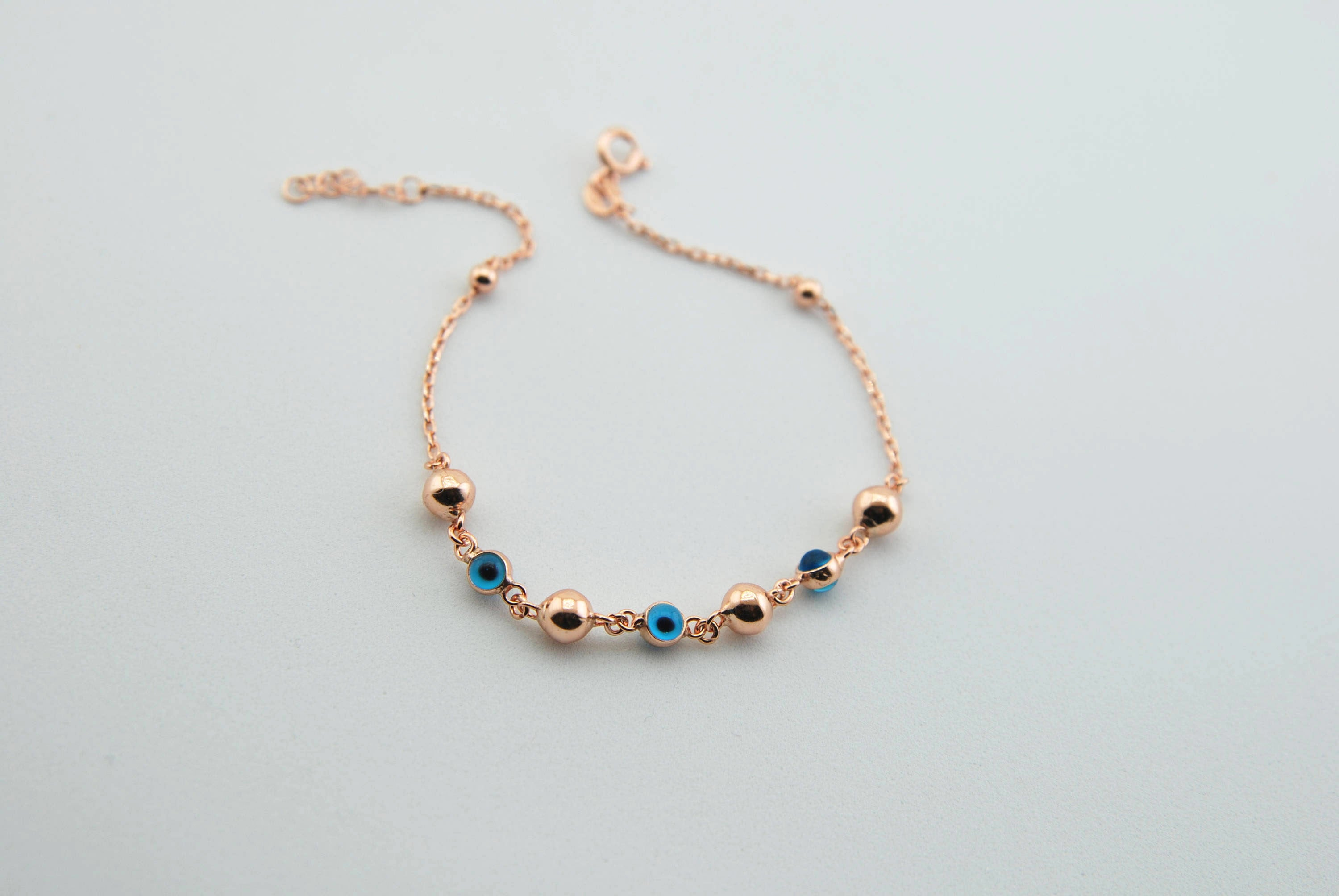 Handmade Evil Eye Bracelet, Rose Gold Plated Sterling Silver - Babazen