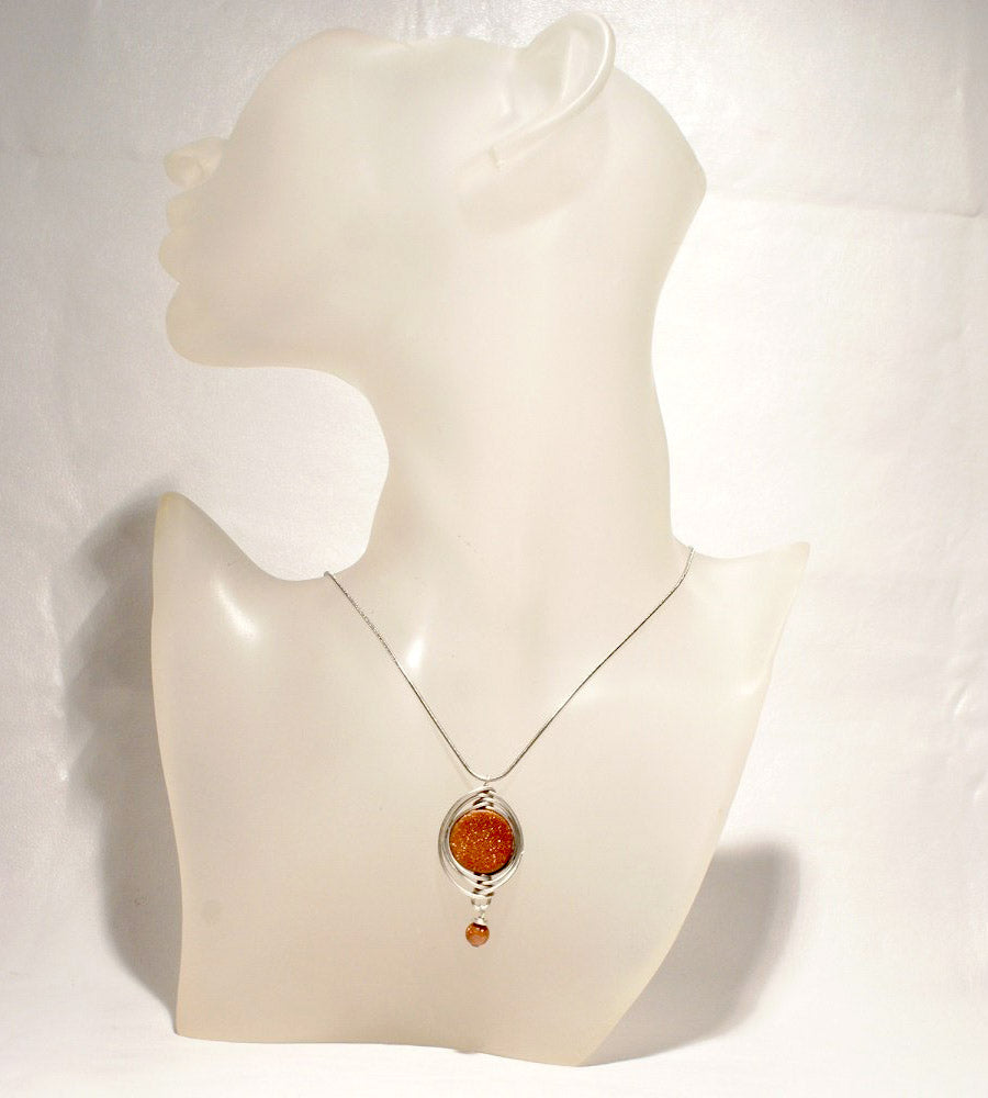 Handmade Wire Wrapped Goldstone Boho Necklace - Babazen