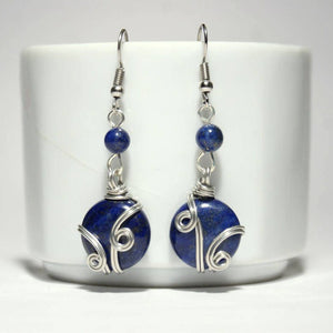 Handmade Wire Wrapped Lapis Lazuli Earrings - Babazen