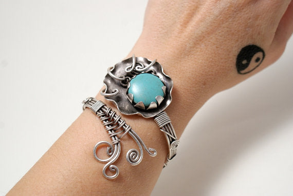Handmade Turquoise Gemstone Wire Wrapped Cuff Bracelet - Babazen