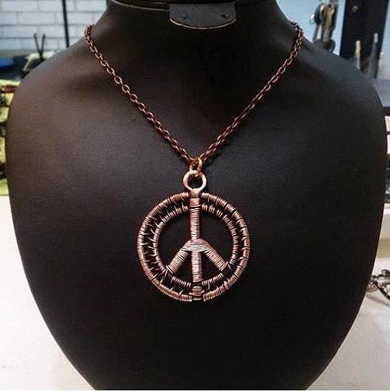 Handmade Copper Peace Sign Pendant Necklace - Babazen
