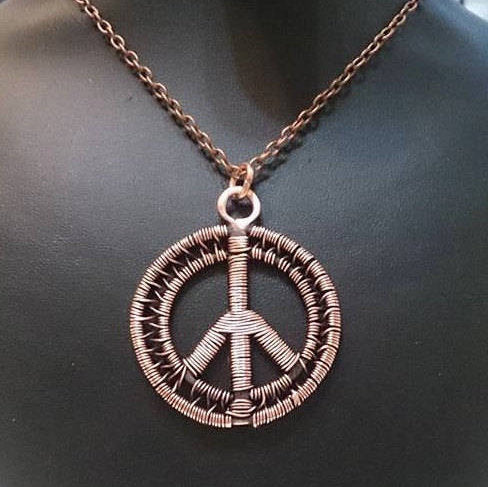 Handcrafted Copper Peace Pendant Necklace, Peace Sign Necklace - Babazen