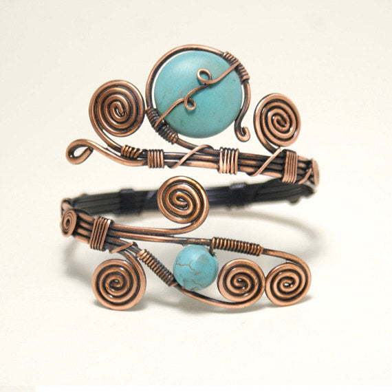 Handmade Copper Turquoise Cuff Bracelet - Babazen