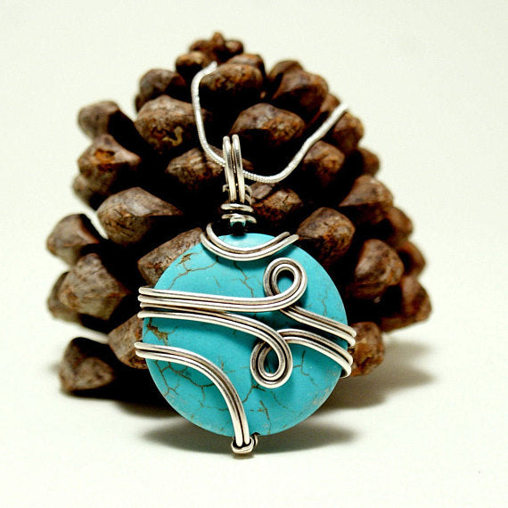 Handmade Wire Wrap Turquoise Pendant Necklace