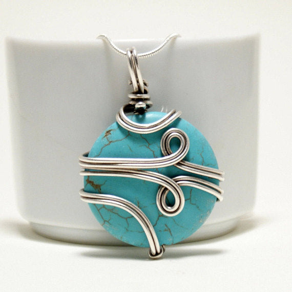 Handmade wire wrap turquoise pendant necklace babazen handcrafted turquoise pendant necklace wire wrapped necklace babazen aloadofball Images