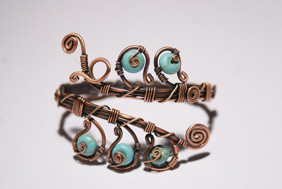 Handmade Copper Wire Turquoise Bracelet