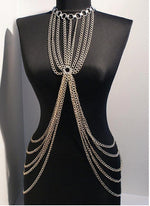 Handmade Body Chain Body Harness, Silver Plated - Babazen