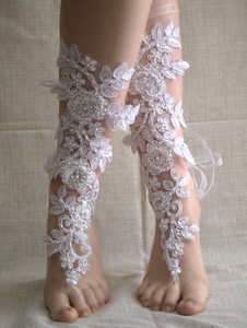 Handmade French Lace Bridal Barefoot Sandals - Babazen