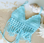 Handmade Lace Top Knit Beachwear, Fringed Crochet Top - Babazen