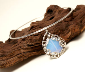 Handmade wire wrapped moonstone pendant necklace - Babazen