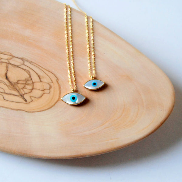 Handmade Mother of Pearl Evil Eye Necklace