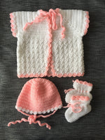Handmade Baby outfit, White and pink baby cardigan hat & booties - Babazen