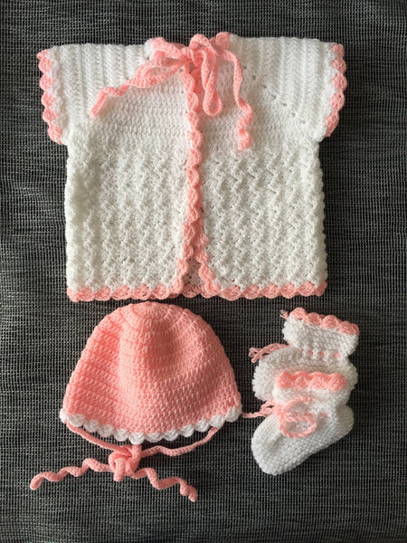 Handmade Baby Cardigan Knit Hat & Booties