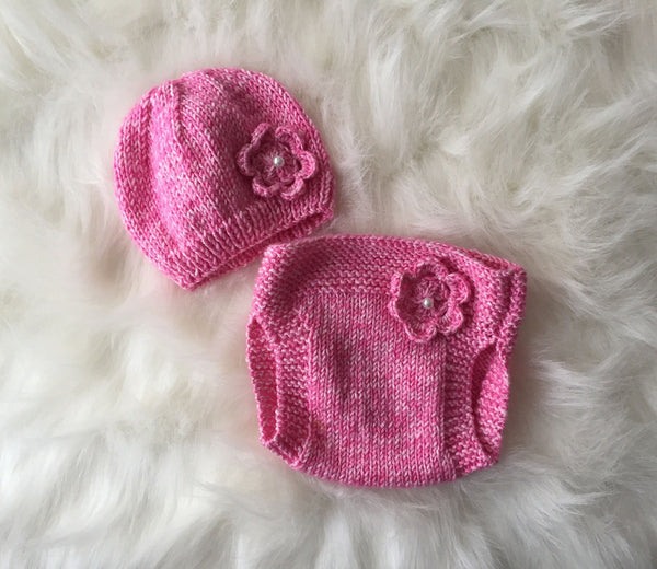Handmade Baby Knit Hat & Diaper Cover with Flower