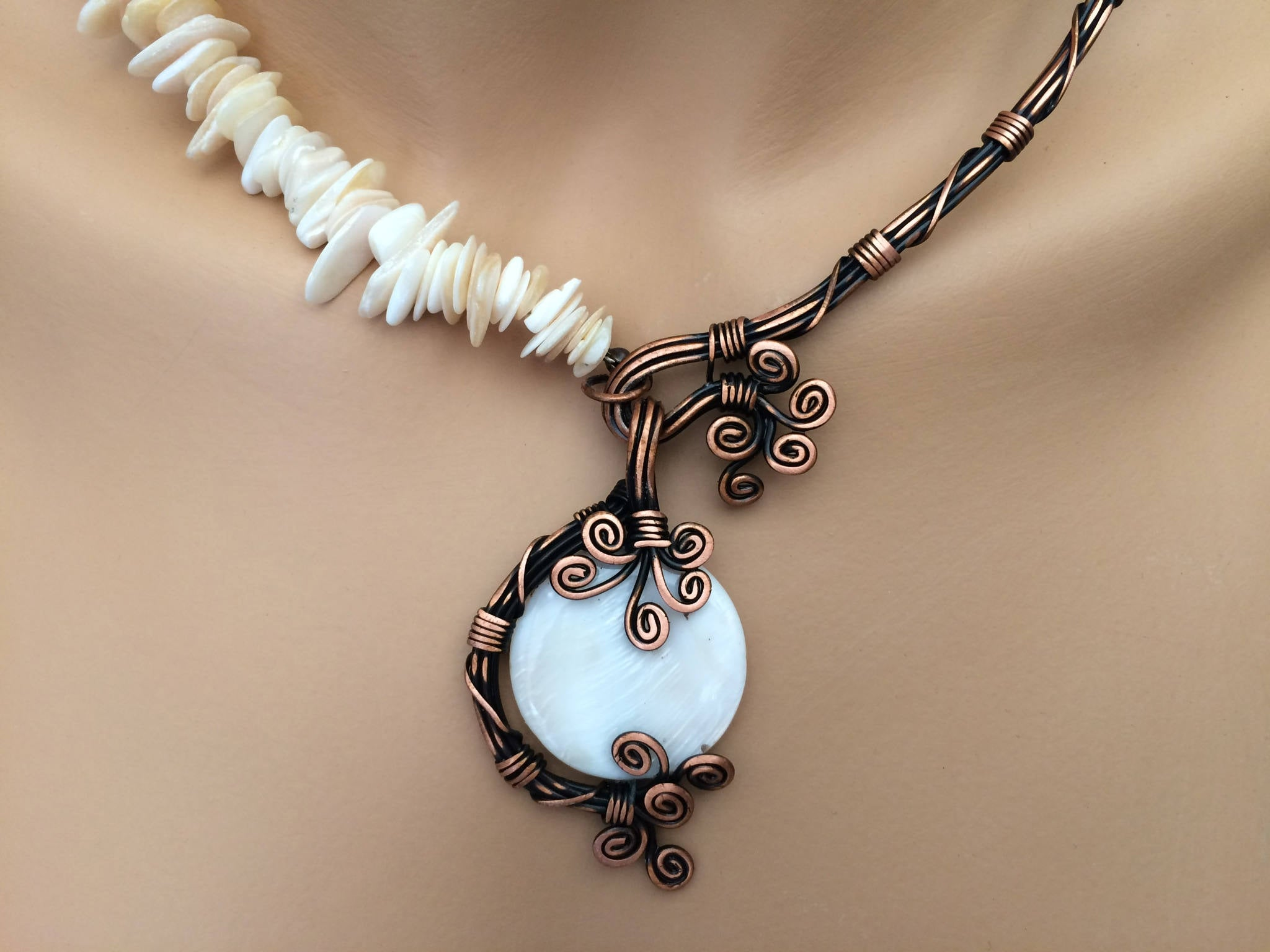 Handmade Mother of Pearl Bridal Statement Necklace - Babazen
