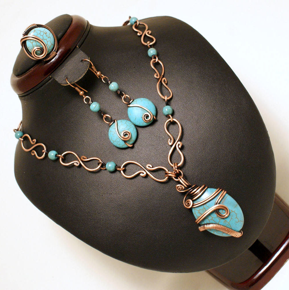 Handmade Wire Wrap Turquoise Jewelry Set