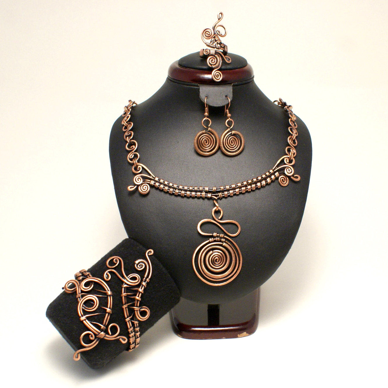 Handmade Wire Wrapped Copper Jewelry Set