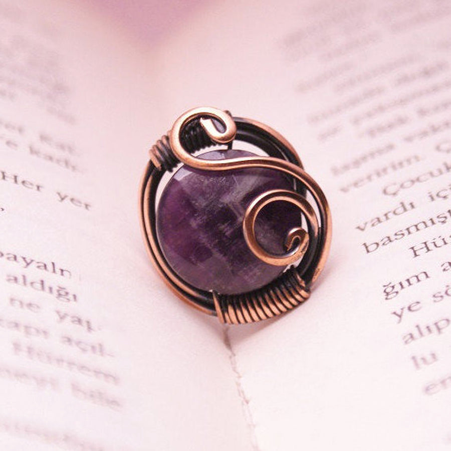 Handmade Wire Wrapped Amethyst Ring Boho Jewelry - Babazen