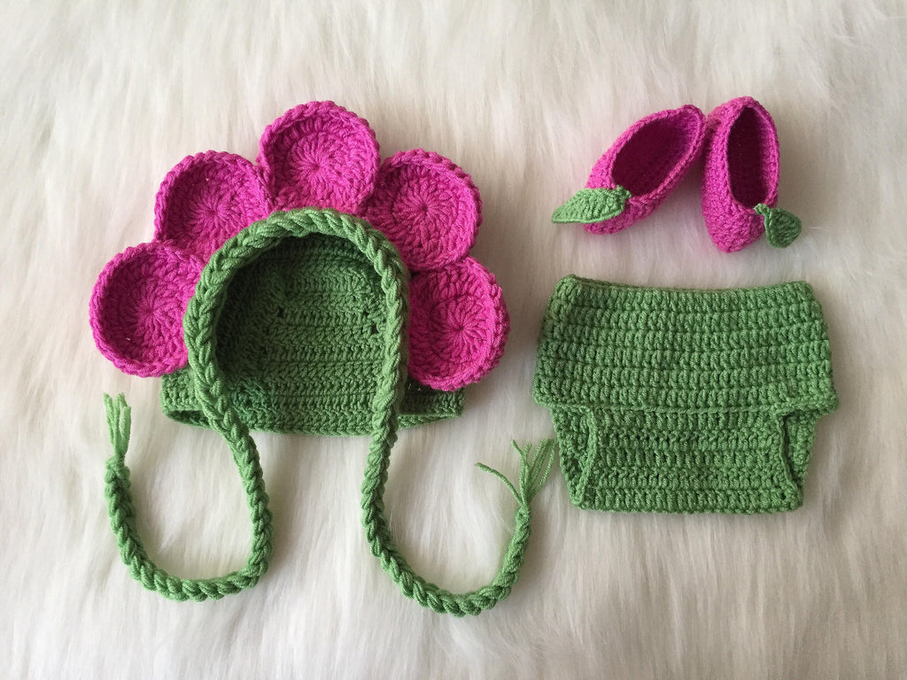 Handmade Flower Fairy Baby Hat Diaper Booties - Babazen