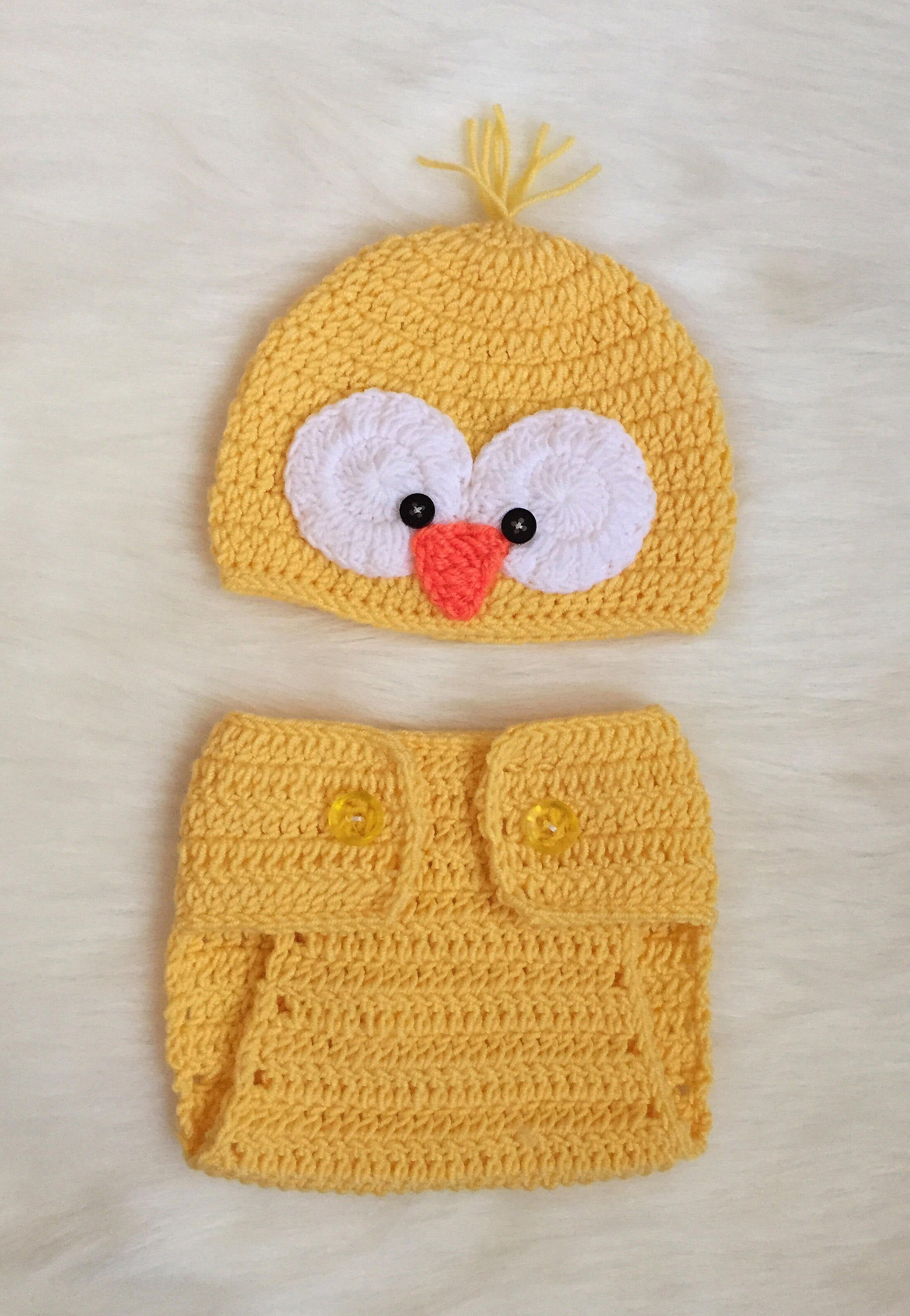 Handmade Baby Beanie and Diaper Cover, Little Chick - Babazen