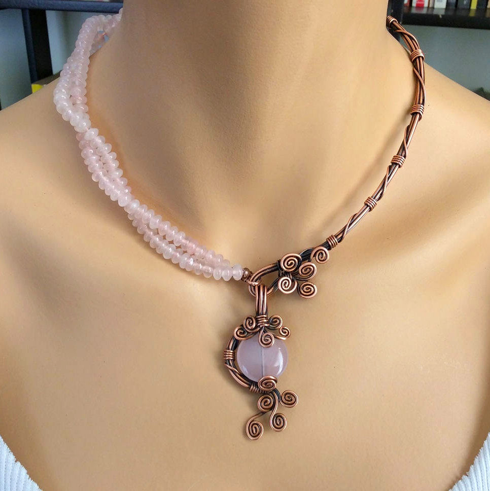 Handmade Rose Quartz Copper 7th anniversary Necklace - Babazen
