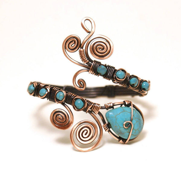 Handmade Copper Wire Wrap Turquoise Cuff Bracelet