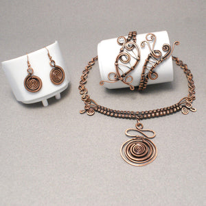 Handmade Wire Wrapped Copper Jewelry Set - Babazen