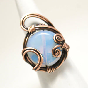 Handmade Moonstone Copper Wire Ring - Babazen