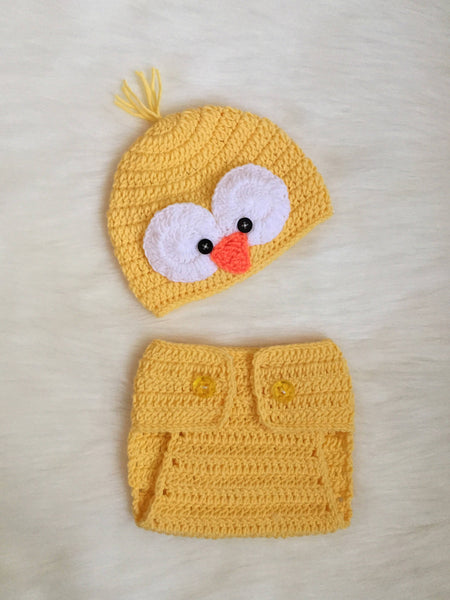 Handmade Baby Beanie and Diaper Cover, Little Chick
