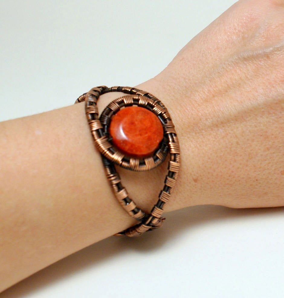 Handmade Copper Wire Wrapped Red Boho Bracelet - Babazen