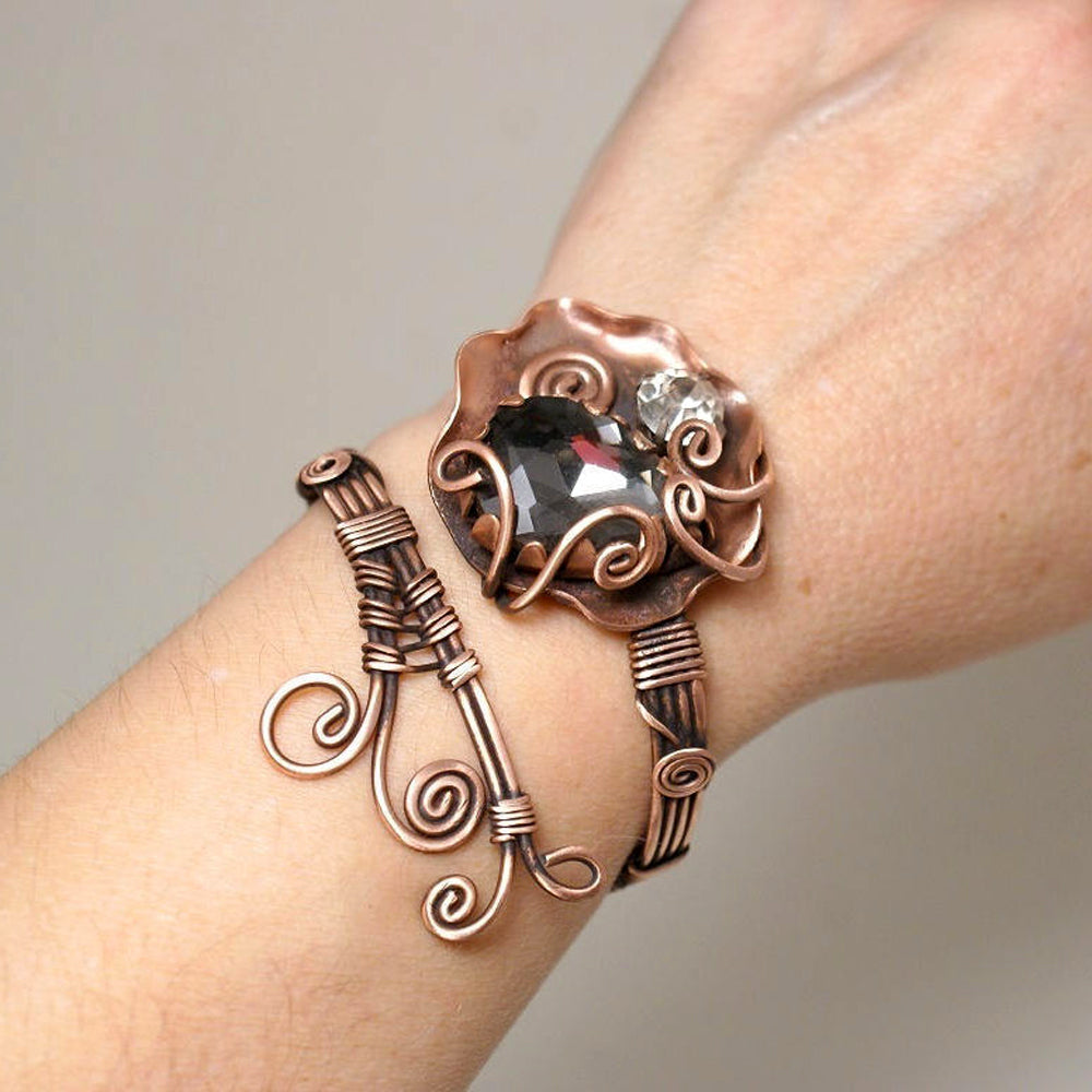 Handmade Wire Wrapped Copper Bangle Bracelet - Babazen