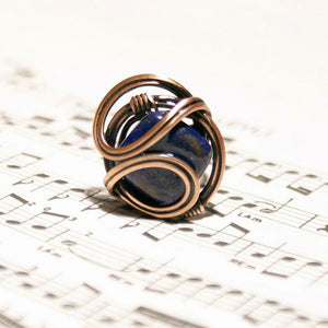 Handmade Lapis Lazuli Wire Wrap Adjustable Ring - Babazen