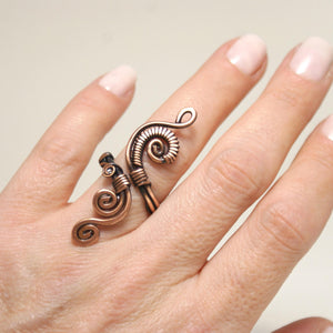 Handmade Copper Wire Wrapped Adjustable Ring - Babazen