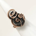 Handmade Black Onyx Wire Copper Ring - Babazen
