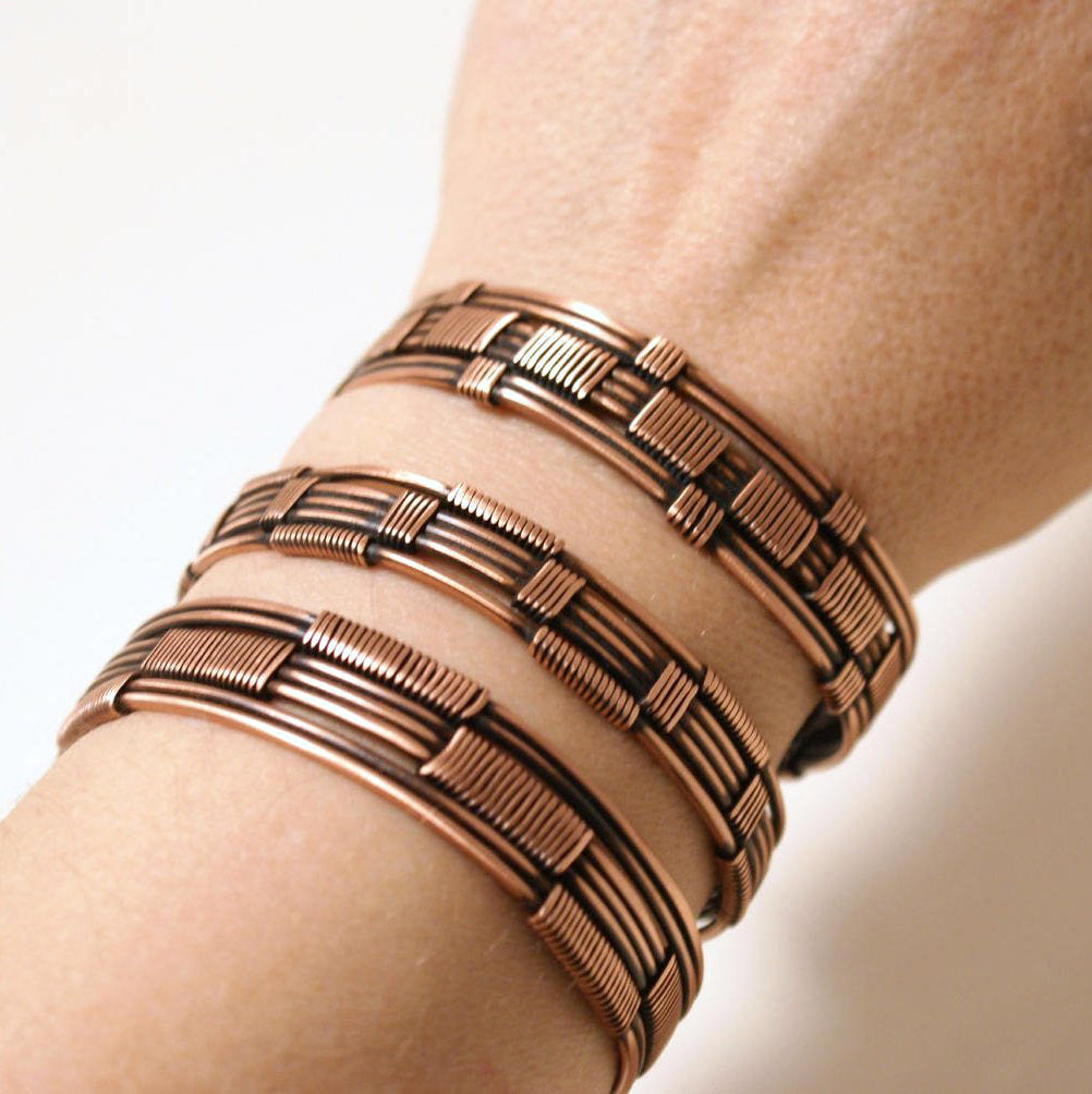 Handmade Copper Wire Wrapped Cuff Bracelet Set - Babazen